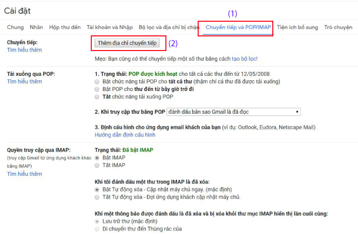 cai dat gmail