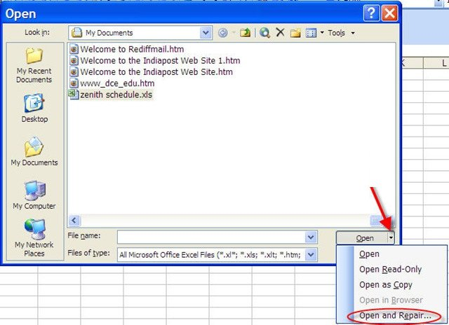 Excel loi save file Open