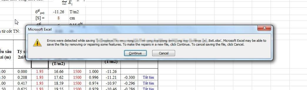 Excel loi save file thong bao
