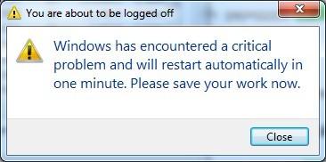 Windows has encountered a critical problem