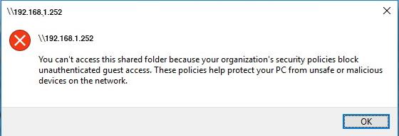 sự cố không truy cập được share folder ở window 10