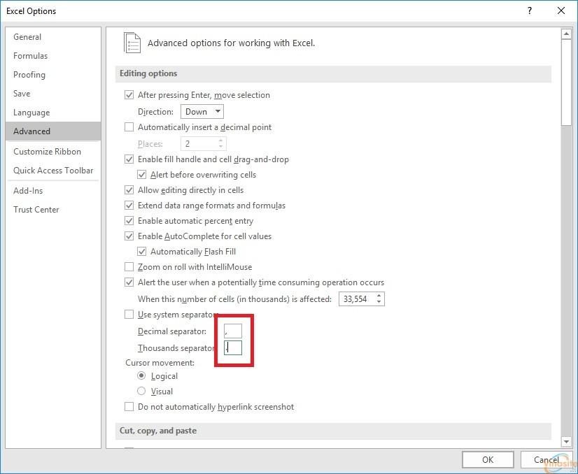 Đổi dấu phẩy thành dấu chấm trong Excel
