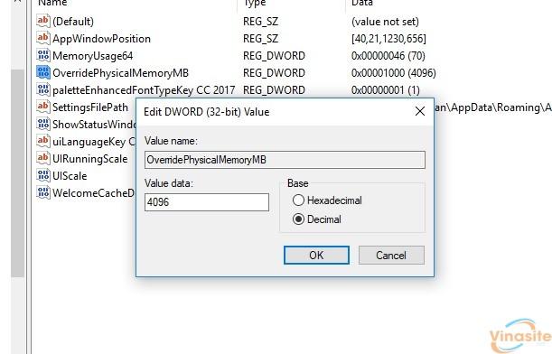 """Hướng dẫn sửa lỗi Photoshop """"NOT ENOUGH RAM"""" Windows 10 1803"""