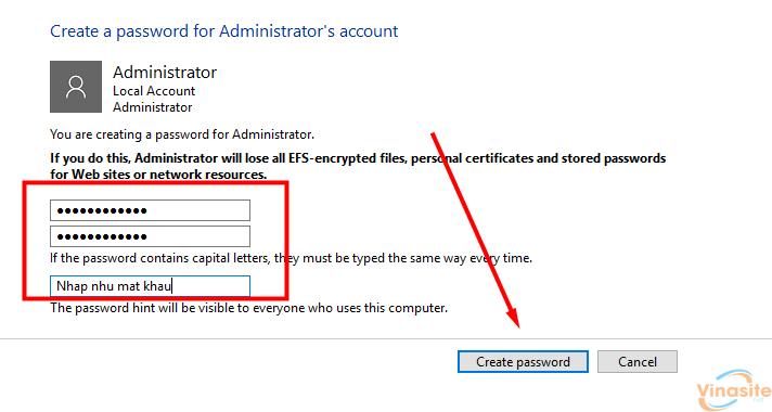 Tạo mật khẩu đăng nhập cho máy tính Windows