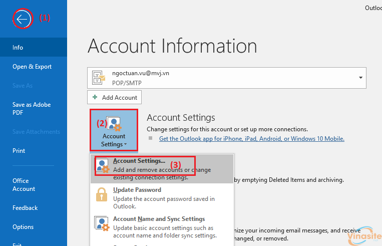 Loại bỏ hoặc xóa tài khoản email khỏi Outlook
