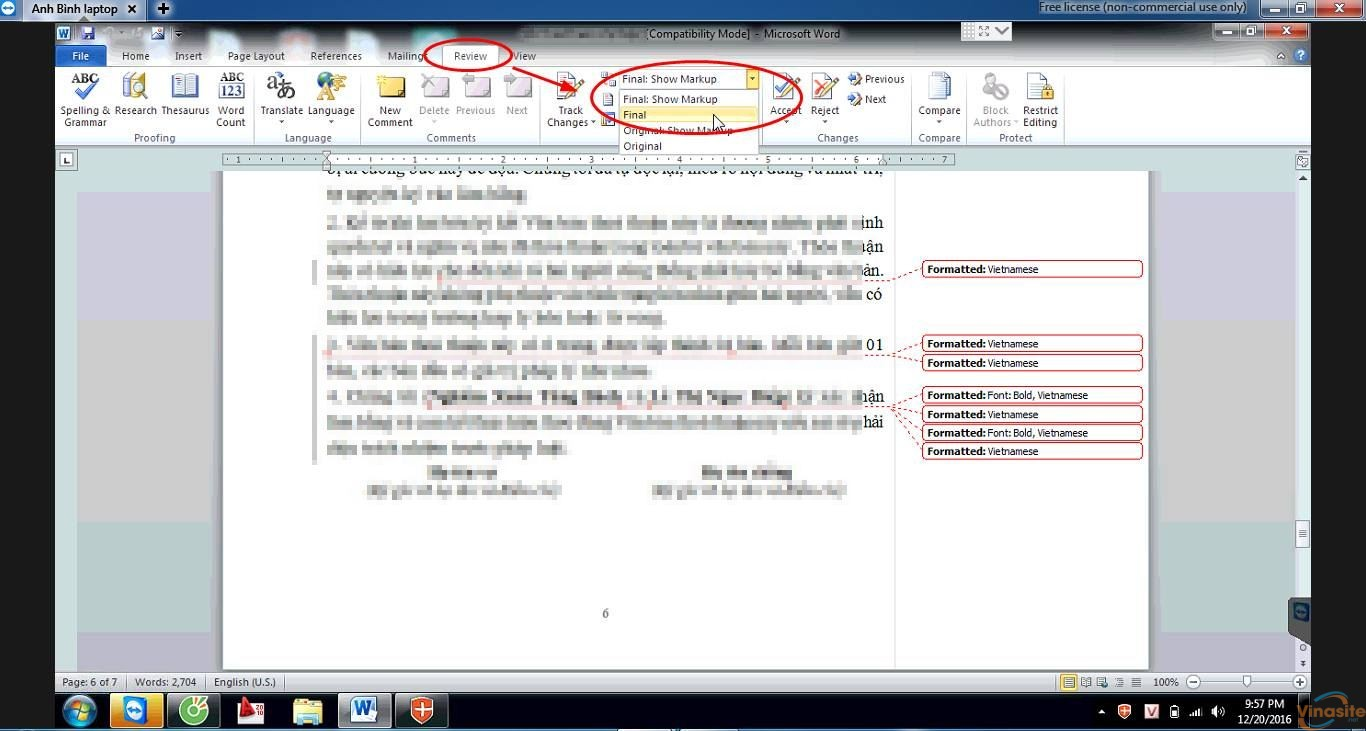 Cách xoá, ẩn hiển thị lịch sử các lần chỉnh sửa Show Markup trong Word 2003 2007 2010
