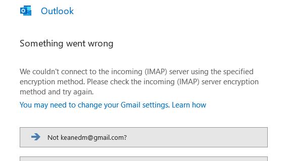 Lỗi khi Add Email