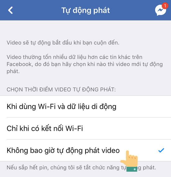 Tắt tự động phát video facebook