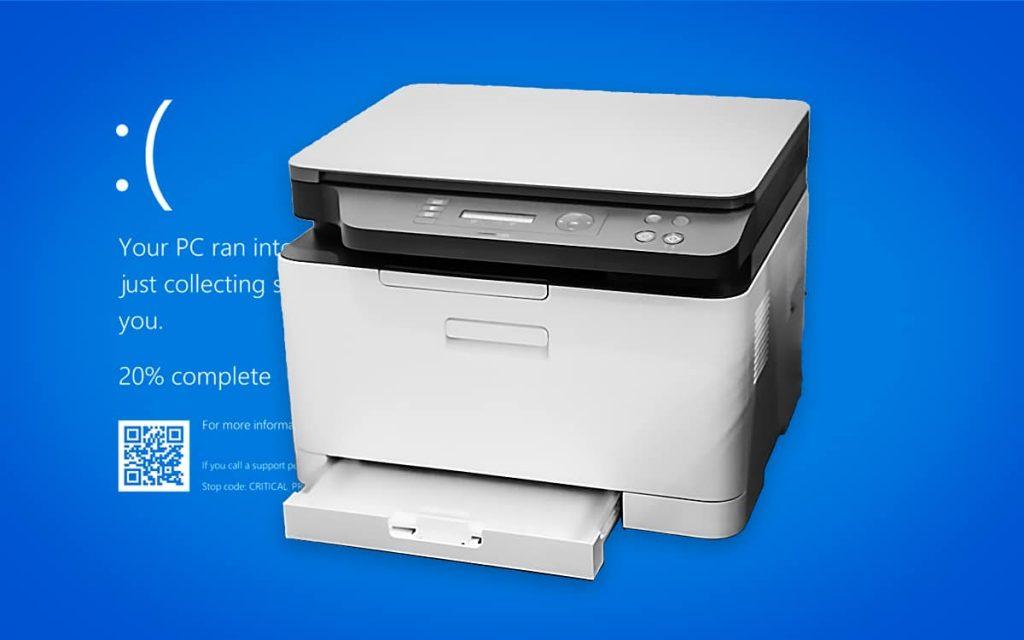 Lỗi màn hình xanh khi in ấn