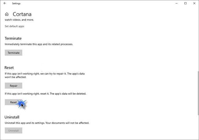 Reset lại Cortana để sửa lỗi Win32Bridge.server.exe Incorrect function